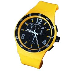 Outdoor Sports Silicone Colorful Jelly Watch Quartz Electronic Watch Yellow (Intl)