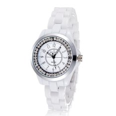 oxoqo Brand Skone white Imitation ceramic women watches luminousrhinestones quartz mesh watches (silver) - intl