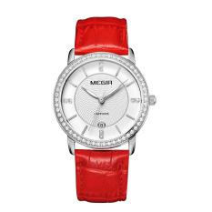 Oxoqo MEGIR Authentic Fashion Belts Female Table Quartz Watch Miss Han Ban Slim Personality (Silver)