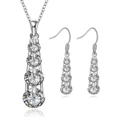 Pair Of Tear Shape Embellished Earrings + Chic Rhinestone Necklace For Women (WHITE)