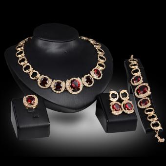 Panjang kaya wanita Vintage pesta pernikahan berlapis emas kristal berlian imitasi kalung dan anting-anting