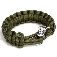 Paracord 550 Survival Bracelet With Stainless Steel Bow Shackle (Army Green)