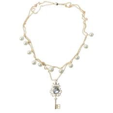 Pearl Bead Crystal Rhinestone Key Crown Pendant Necklace