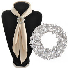 Phoenix B2C Womenu0026#39;s Round Sparkling Silk Ribbons Buckle Rhinestone Alloy Scarf Holder