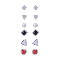 Phoenix B2C Women's Golden Silver Geometric Shape Tiny Cute Ear Stud Earrings 6 Pairs (Silver)