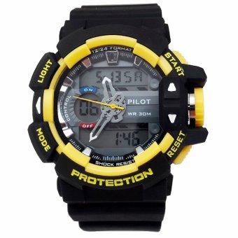 Pilot Waterproof Digital Sport - Jam Tangan Pria - Strap Karet - Hitam Kuning - PLT