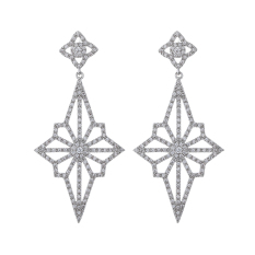 Pinannie Cubic Zirconia White Gold Plated Long Dangle Chandelier Earrings For Women