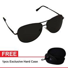 Polarized Sunglasses UV 400 HD Night 002 810 Free Exclusive Hard Case - Kacamata Pria & Wanita - Hitam