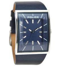 Police Jam Tangan Pria Biru Ring Silver Leather Strap 14684JS-03