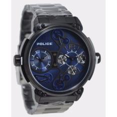 POLICE PL.14693JSB/03M - Steampunk - Dual Time - Jam Tangan Pria - Bahan Tali Stainless Steel - Hitam
