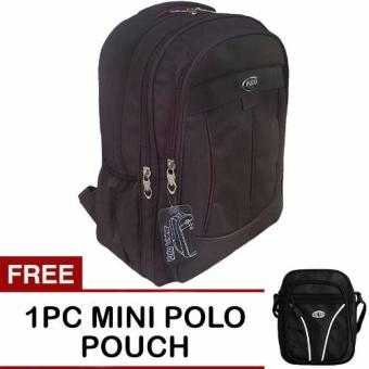 PoloClub Decker Laptop Backpack with Raincover - Coklat + FREE PoloClub Mini Pouch Slingbag