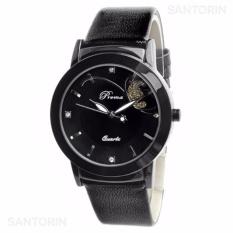PREMA Jam Tangan Analog Wanita Strap Kulit Sintetis Women Leather Fashion Wrist Watch - Black