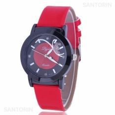 PREMA Jam Tangan Analog Wanita Strap Kulit Sintetis Women Leather Fashion Wrist Watch - Red