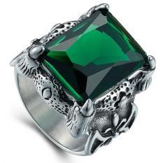 Pria dominan Retro cincin batu mulia hijau
