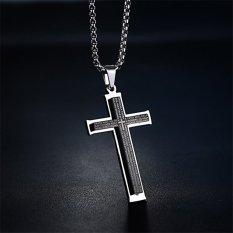 Pria sederhana Stainless Steel liontin Bahasa Inggris Doa Bapa Kami Hitam liontin perhiasan rantai kalung salib dengan 731.52 cm