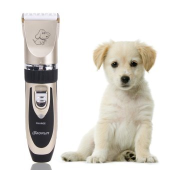 Professional Grooming Kit Titanium Ceramic Rechargeable Pet Cat DogHair Trimmer Electrical Clipper Shaver Set Haircut Machine(Black) -intl
