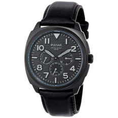 Pulsar Watch Black Stainless-Steel Case Leather Strap Mens NWT + Warranty PP6085