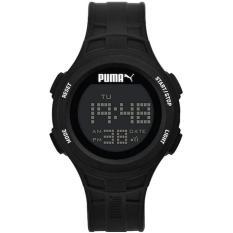Puma Jam Tangan Unisex Puma PU911301001 Loop Black Chronograph Digital Silicone Watch