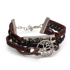 Punk Style Retro Leather Rope Bracelet Series Of Life Tree-shaped, Jewelry Wholesalers FSH230 - Intl