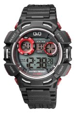 Q&Q Watch Sport Pria M148J002Y - Merah Hitam - Karet