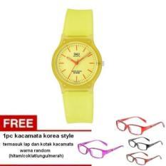 Q&Q - Jam Tangan Wanita - Kuning - Tali Karet - Jelly Watch + Free 1pc Kacamata Korea Style - Warna Random Termasuk Kotak Dan Lap Kacamata (Yellow)