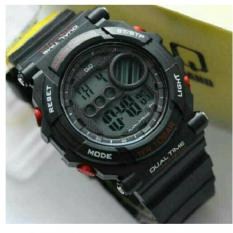 Q&Q M136 Digital Sport (Black Red) - Jam Tangan Original QnQ Rubber