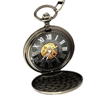 qianying Men's retro semi-automatic mechanical pocket watch (Black) - intl