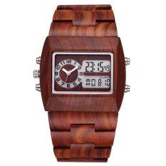 qoovan Bewell Luxury Natural Sandalwood Wood Watches Men -Digital Chronograph LED Dual Time Zone Clock Brand masculino (red sandalwood) - intl