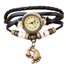 Quartz Weave Around Leather Footed Bracelet Lady Woman Wrist Watch Black (Intl)