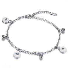 Queen Bracelet / Anklet Dual-use Heart-shaped Bell Titanium Steel Bracelet Female Jewelry Wholesale (Length Adjustable) -Silver