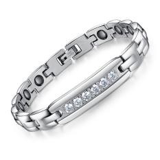 Queen Contracted Fashion Diamond Men's Titanium Steel Magnet Bracelet Wholesale Health