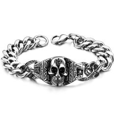 Queen Hip-hop Jewelry Pharaoh Skull Classic Men's Titanium Steel Bracelet (Silver)