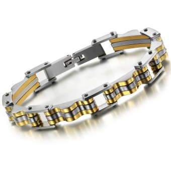 Queen Korean Fashion Cool Hip-hop Casual Men's Titanium Steel Bracelet Jewelry Wholesale (Golden)