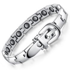 Queen Men's Titanium Steel Silvered Black CZ Bracelets