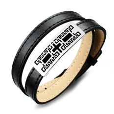 Queen Men's Wild Korean Fashion Retro Leather Sport Bracelet New Special Wholesale (Black)