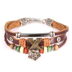 Queen Women's Retro Hand-Woven Leather National Wind Heart-Shaped Bronze Leather Bracelet (Coffee)