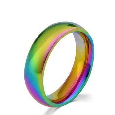 Rainbow Colorful Titanium Steel Finger Rings Men/Womens Engagement Wedding Band Size 7 - intl