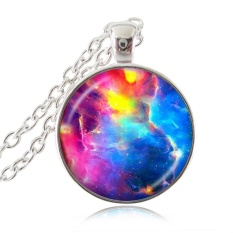 Rainbow Colourful Nebula Necklace Galaxy Chain Pendant Space Jewelry Silver Choker Statement Necklace Gift For Girl Dress Accessories