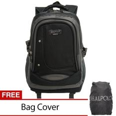 Real Polo Tas Ransel Kasual 6308 - Bonus Bag Cover - Hitam