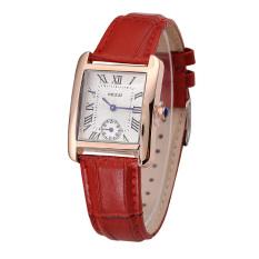 Rectangle Gold Plated Case Women Chronograph Quartz Wristwatch (Red)
