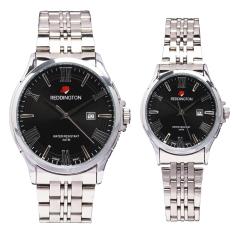 Reddington Date - Jam Tangan Pasangan - Silver Plat Hitam - Strap Stainless Steel - RD327sh Couple