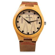 REDEAR SJ 1448 - 5 Male Wooden Quartz Watch Leather Strap Special Pattern Dial Wristwatch (BROWN) - Intl