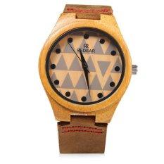 REDEAR SJ 1448 - 7 Female Wooden Quartz Watch Leather Strap Special Pattern Dial Wristwatch (BROWN) - Intl