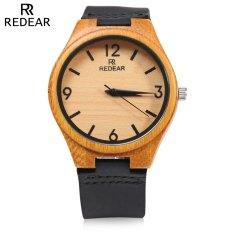 REDEAR SJ 1448 - 8 Wooden Female Quartz Watch Leather Strap Analog Wristwatch (BLACK) (Intl)