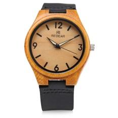 REDEAR SJ 1448 - 8 Wooden Female Quartz Watch Leather Strap Luminous Pointer Analog Wristwatch (BLACK) (Intl)