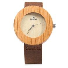REDEAR Wooden Unisex Quartz Watch Unique Embedded Round Dial Leather Strap Men And Women Wristwatch (BROWN) - Intl