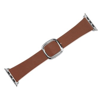 Replacement Modern Buckle Genuine Leather Wrist Band Strap for Apple Watch 38mm in Brown