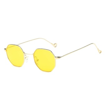 Retro Small Square Octagonal Sunglasses Male and Female Ocean Slices Transparent Sunglasses-Gold Frame Through Yellow Film - intl