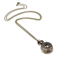 Retro Vintage Bronze Steampunk Quartz Necklace Pendant Chain Pocket Watch (Intl)