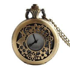 Retro Vintage Rabbit Flower Key Hollow Carved Pattern Flip Up Quartz Pocket Watch With Chain (Intl)